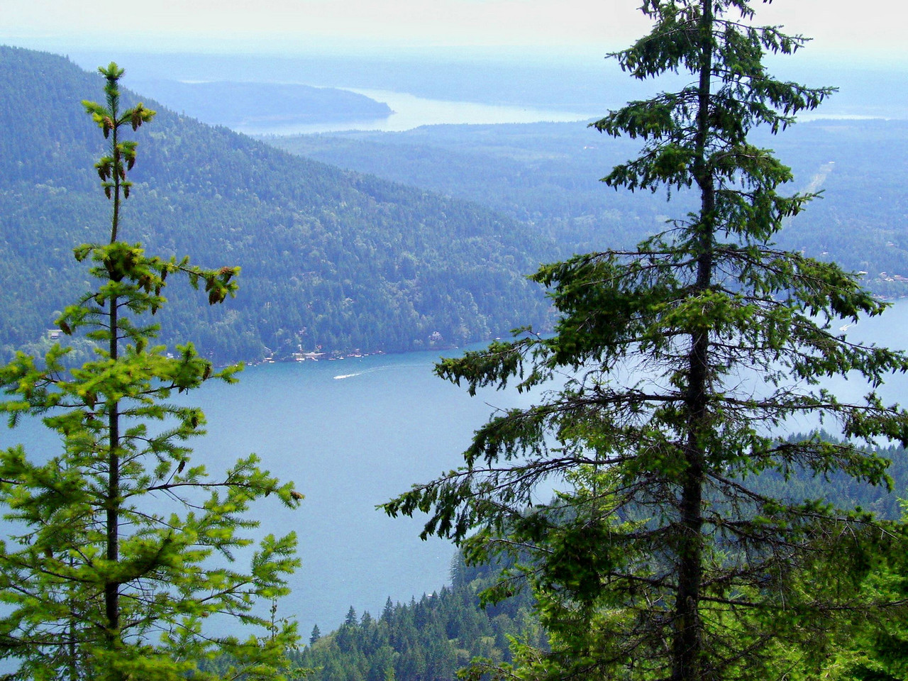 Lake Cushman in the foreground and Hood Canal behind.