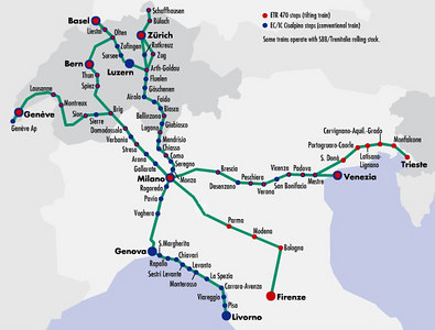 """Map for the """"Cisalpino"""" train network linking Switzerland and Italy. Our travels took us from Zurich (top) through Milano (center) to Parma (lower right), with a day trip to Firenze (Florence). We also took a train through Bologna to Rome, which is way off the bottom of this map"""