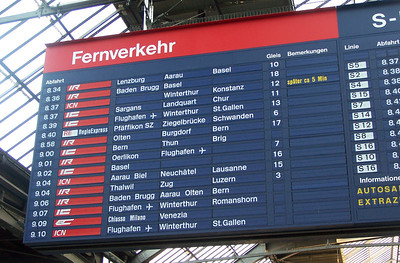 At the Zurich train station. Our train to Milano (on the way to Parma) is the 9:09am one, the second form the bottom