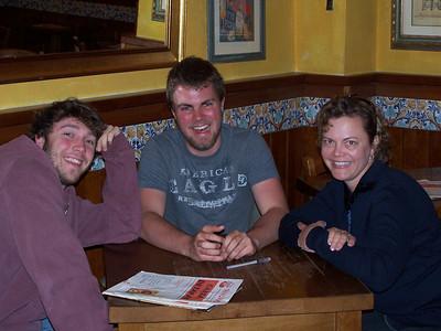 Davy's friend John, Davy, Mary in a tapas restaurant in Parma