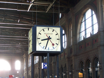 Inside the Zurich train station. This clock style is everywhere in the Swiss passenger rail network