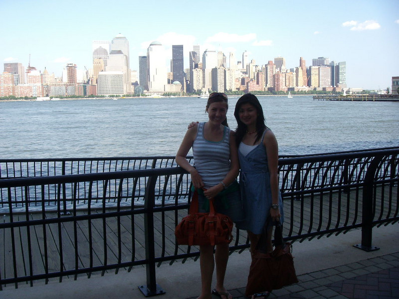 Jill & Pauline in Jersey City with Downdown NYC in background