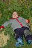 Maija crashing in the bushes after a long day of Jani fun!