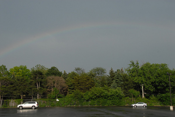 A rainbow over the teachers parking lot greeted Hinsdale Central seniors as they arrived for their graduation ceremony on May 31.