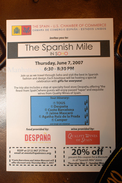 "The Spain-U.S. Chamber of Commerce is pleased to announce the second edition of the ""Spanish Mile in Soho"", NYC"