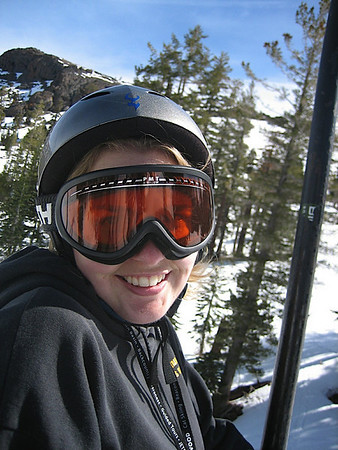 Alicia heading up on the lift