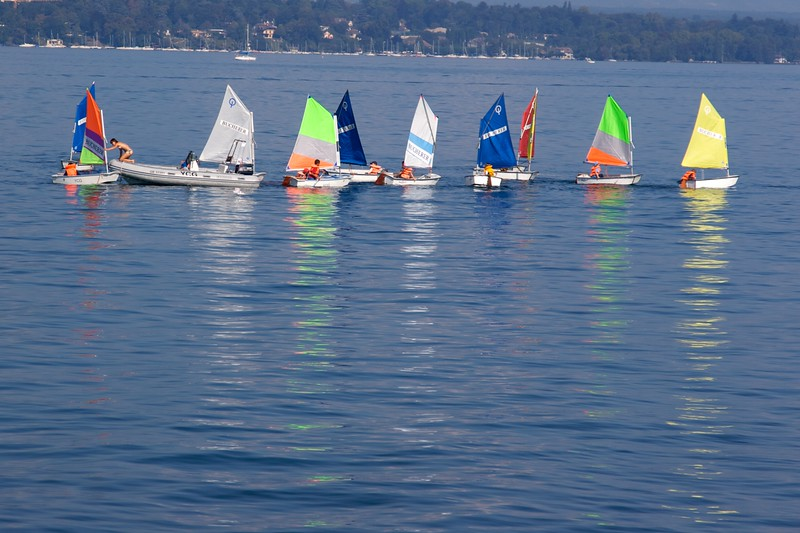 Sailing lesson • Children lining up on Lake Geneva in their own sailing boats for a lesson, or perhaps a competition.