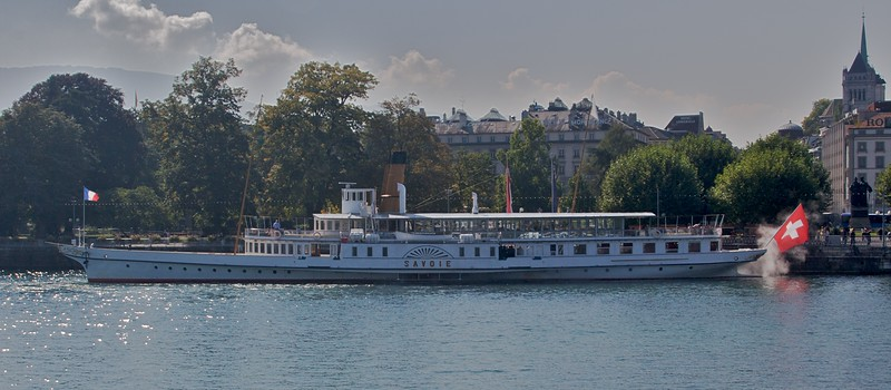 Paddle steamer • A paddle steamer owned and used by the Compagnie Générale de Navigation sur le Lac Leman (CGN), which operates pleasure-ferry services all around Lake Geneva.