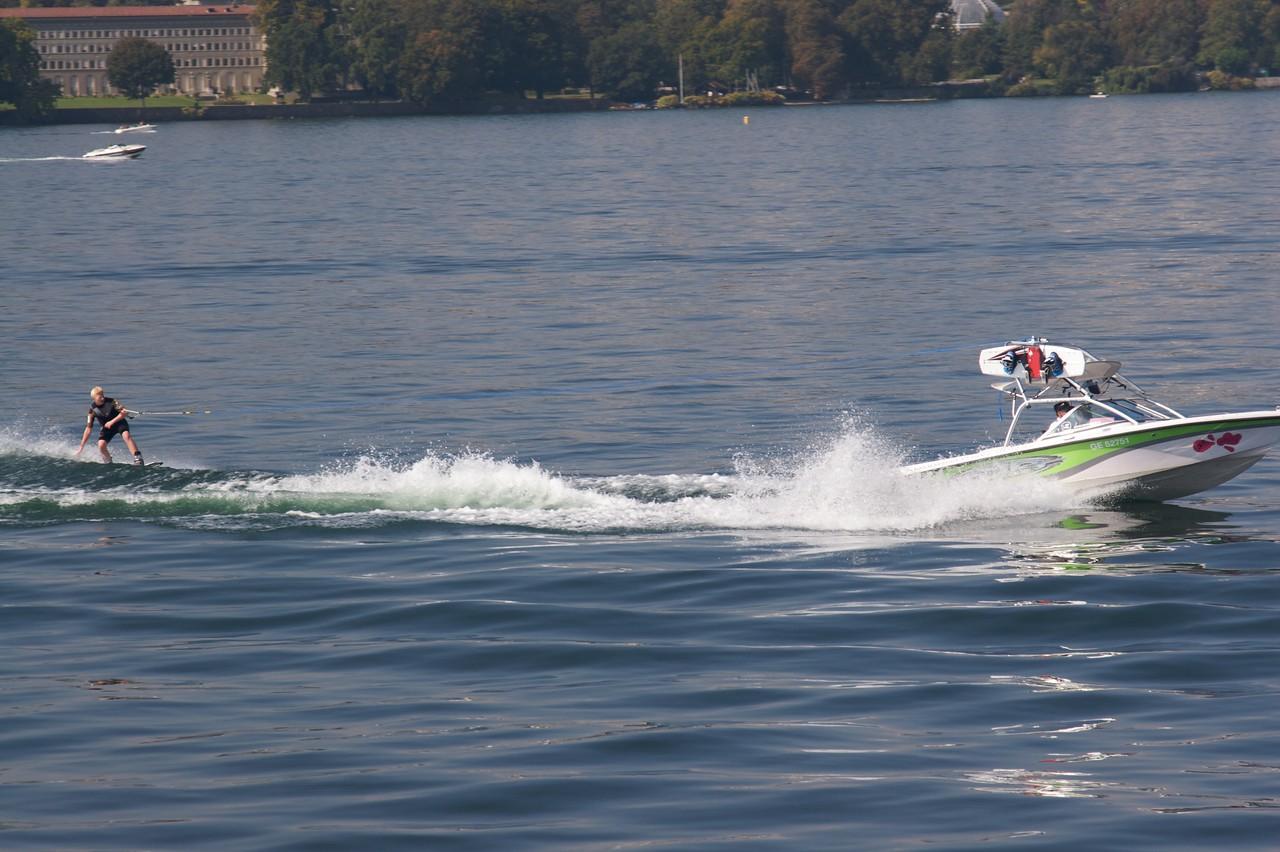 Jet-skiing • A man jet-skiing on Lake Geneva on Saturday morning.