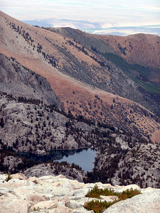 """Lower Lamarck Lake from above on our way to the Col. Our """"Penthouse"""" is on the far shore."""