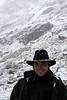 Richard Harrop grins under a dusting of heavy wet snow.