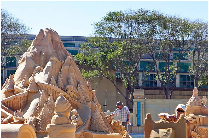 Moore Park, Saturday 31st March 2007.<br /> <br /> Sand sculptors put the finishing touches to their amazing work ahead of the opening of an exhibition of sand sculptures next week.<br /> <br /> <br /> EXIF DATA<br /> Canon 1D Mk II. EF 24-70mm f/2.8L@70mm 1/200 f/5 ISO 200