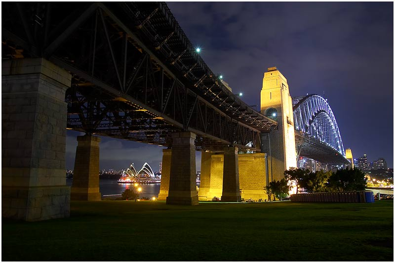 Milsons Point, Monday 19th March 2007.<br /> <br /> The party was yesterday, but it's today that the Sydney Harbour Bridge is 75 years old. Opened on this day in 1932 it remains the widest long-span bridge in the world and is the largest steel arch bridge with the top of the bridge standing 134 metres above the harbour.<br /> <br /> <br /> EXIF DATA<br /> Canon 1D Mk II. EF 17-35mm f/2.8L@21mm 1/100 f/5.6 ISO 200.
