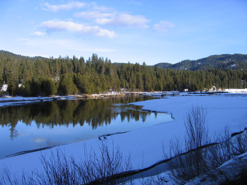 We captured this shot on our drive up to McCall...the river as partially still ice/snow.