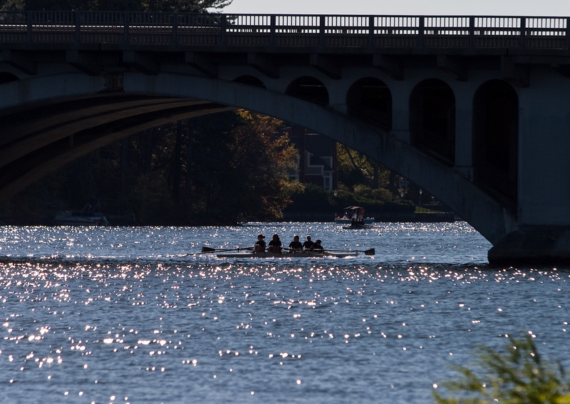 Under the bridge; rowing to the starting line.