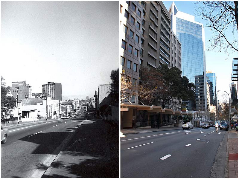 "Walker Street, North Sydney, Friday 25th May 2007. </strong> Then & Now. The image on the left was taken in 1966 by Jenny Robinson (who lived on this street) just before she left to live in London. She asked me to photograph it as it appears today, which I was very happy to do. I love to look at old city photos and see the differences that the passage of time brings about.  View location on <a href=""http://maps.google.com/maps/ms?ie=UTF8&hl=en&msa=0&ll=-33.862915,151.210949&spn=0.024731,0.040169&t=h&z=15&om=1&msid=107047001763101043024.000001124b2e99a441abd"" target=""_blank""><strong><em>Google Maps</em></strong></a>."