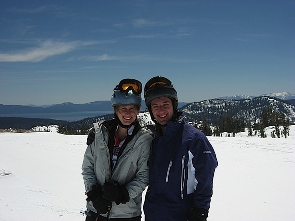 Katy and I having a good day of skiing