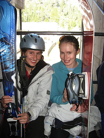 Katy and Jenny on the gondola up to Squaw. May skiing here we come!