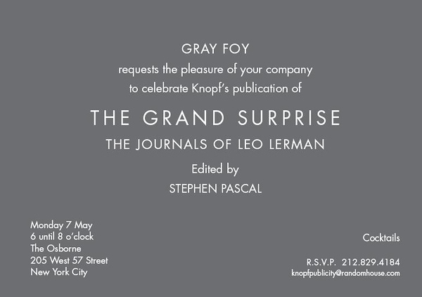 "Private Party to Celebrate Knoph's Publication, ""THE GRAND SURPRISE: THE JOURNALS OF LEO LERMAN"" by Leo Lerman, Edited by Stephen Pascal"