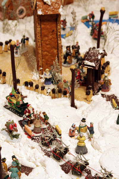 A gingerbread city lives quietly inside the Captain Cook Hotel each Christmas season