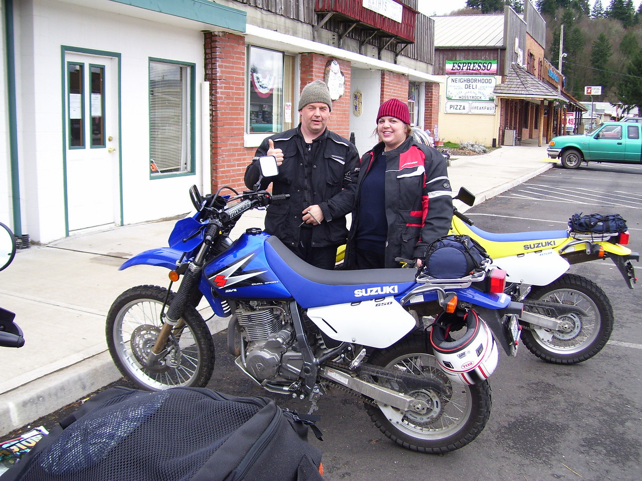 Marty & Cheryl with their DR 650s in Mossyrock where we had lunch. Great ride everybody. We'll see you on the next one!!<br /> <br /> Lan