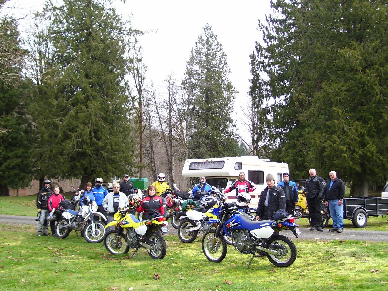 Kris, Tarisa, Sylvia, Lan, Gary, Norm, Cheryl, Dennis, Keith, Tim, Marty, Chris, Dan, Paul, and CJ is taking the picture. 14 riders total for Saturday.