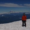 Hat hair with Mt. Rainier in the background.  Aren't those glacier glasses awesome?