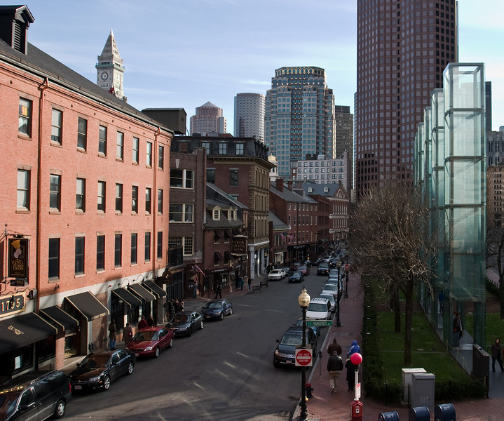 Union St., with old taverns on the left, and the Holocaust Memorial Park on the right.