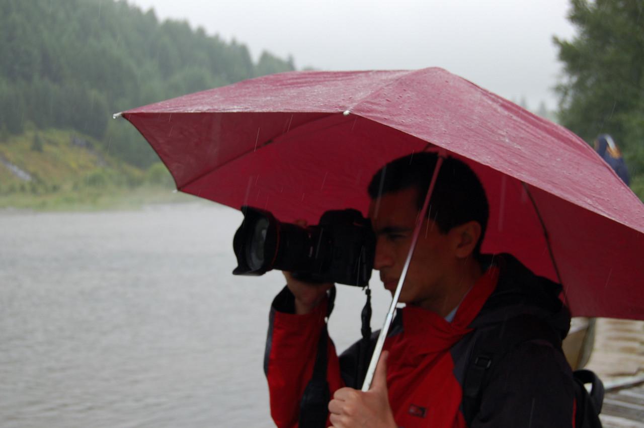 Benito in the rain