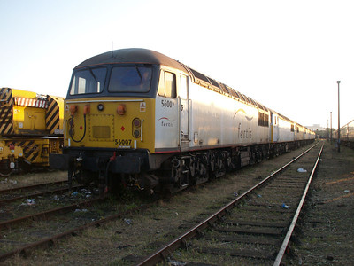56007 heads a line of 7 stored Class 56's in the carriage sidings.
