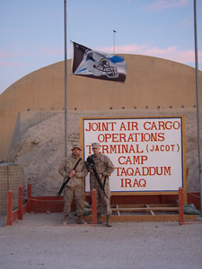 LCpl Joey Cormier at Al Taqaddam airbase in Baghdad