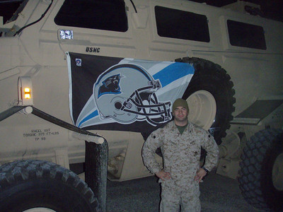 LCpl Joey Cormier  with a USMC Panther vehicle and Panther colors
