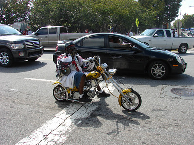 The Bird Boy on his Falcon scooter