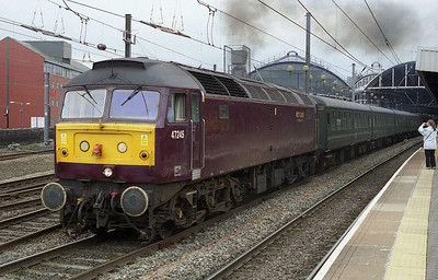 The 'green train' only has vacuum brakes, and 47245 is West Coast's sole dual-braked '47', hence its appearance on this duty. The loco makes a spirited departure from Newcastle with the empty stock for Heaton (30/06/2007)