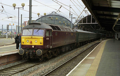 47245 is pictured on arrival at Newcastle with Steam Dreams' 1Z21 0825 charter from Kings Cross, which it had worked throughout (30/06/2007)