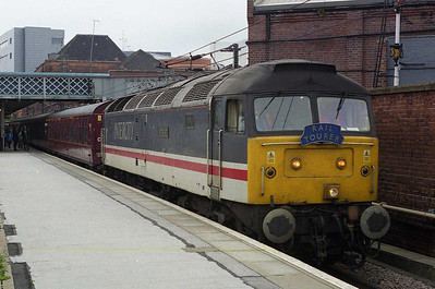 Early the next morning, 47826 'Sprinburn' is seen arriving at Doncaster with Railtourer's 1Z35 0600 Barnetby-Brighton charter (23/06/2007)