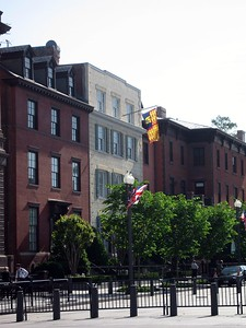 The Royal Standard flies over Blair House, indicating that the Queen is in residence.