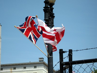 The Union Flag and the flag of the District of Columbia, on a street light near the White House