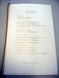 Program for the State Arrival Ceremony
