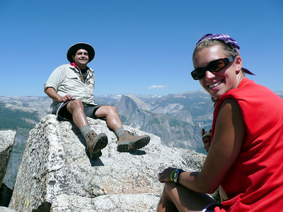 Jose and Kari atop Eagle Peak with Half Dome in the distance