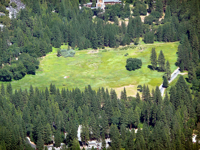 The helicopter in Awahnee Meadow dealing with the tragedy on Half Dome.