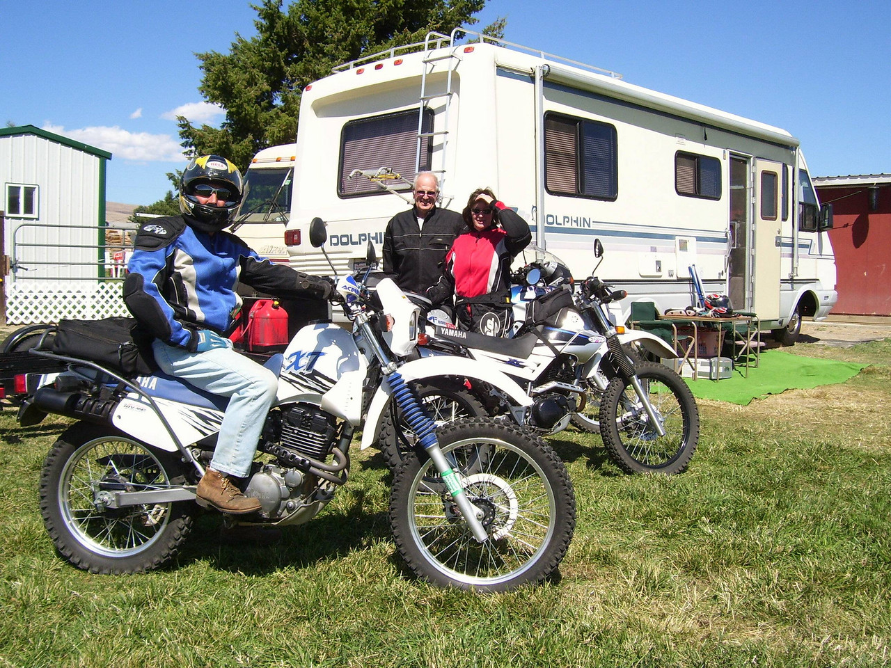 Camping at Nancy's for the float trip. We took my tennis doubles partner, Doug out for a Dual Sport ride.
