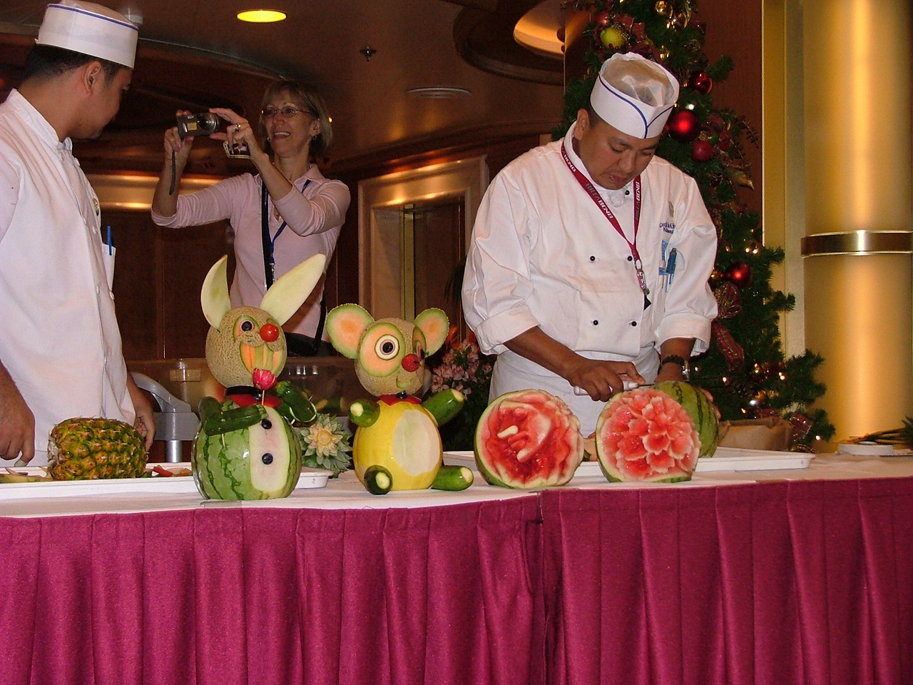 Fruit and veggie carving demo.