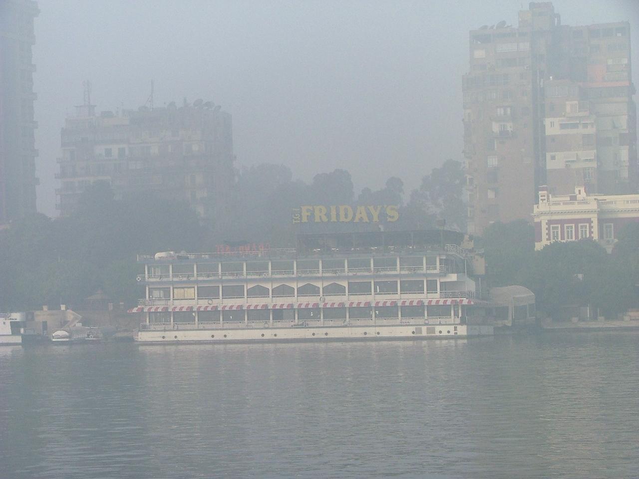 A foggy morning, but look!  TGIFridays!