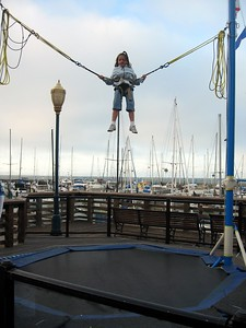 A customer at Frequent Flyers Bungee Trampoline, on Pier 39