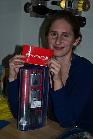 Katy's electronic boot warmers make her very happy
