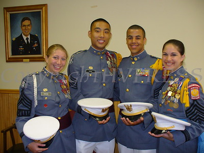 Halee Greene, kenneth Chan, Daniel White and Gina Knapp pose for a picture prior to graduation at the New York Military Academy in Cornwall.