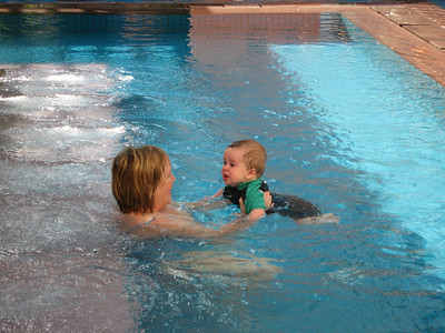 Woody in the pool with Granny Sissix