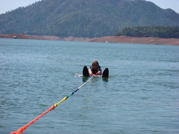 Katy getting ready to water ski.