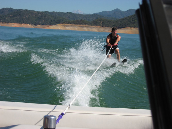 Aaron on the slalom water ski's. It was hard, but a lot of fun!